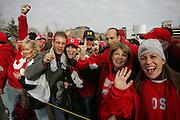 COLUMBUS, OH - November 18 2006: Fans yell and cheer outside Ohio Stadium before The Ohio State Buckeyes play the Michigan Wolverines. Credit: Bryan Rinnert COLUMBUS, OH - November 18 2006: Fans yell and cheer outside Ohio Stadium before The Ohio State Buckeyes play the Michigan Wolverines. Credit: Bryan Rinnert
