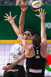 04.07.2013, Lake Szelag, Stare Jablonki, POL, FIVB Beach Volleyball Weltmeisterschaft, im Bild Angriff Jonathan Erdmann (#1 GER) - Block Ryan Doherty (USA), // during the FIVB Beach Volleyball World Championships at the Lake Szelag, Stare Jablonki, Poland on 2013/07/04. EXPA Pictures © 2013, PhotoCredit: EXPA/ Eibner/ Kurth ***** ATTENTION - OUT OF GER *****