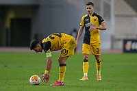 ATHENS, GREECE - OCTOBER 29: Petros Mantalosof AEK Athens and Hélder Lopesof AEK Athens during the UEFA Europa League Group G stage match between AEK Athens and Leicester City at Athens Olympic Stadium on October 29, 2020 in Athens, Greece. (Photo by MB Media)