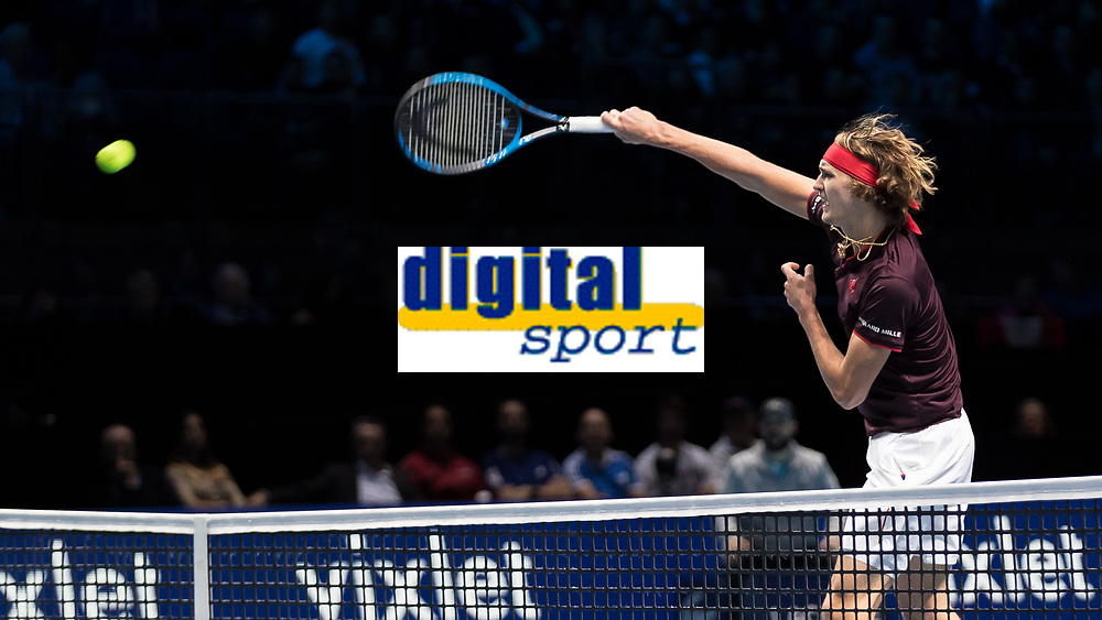 Tennis - 2017 Nitto ATP Finals at The O2 - Day Five<br /> <br /> Group Boris Becker Singles: Alexander Zverev (Germany) Vs Jack Sock (United States)<br /> <br /> Alexander Zverev (Germany) pounces on the high ball to smash close to the net at the O2 Arena<br /> <br /> COLORSPORT/DANIEL BEARHAM
