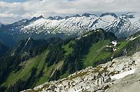 View of ridge north of Dorado Needle seen from Hidden Lake Peak, North Cascades Washington