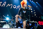 Paramore on stage at KISS FM's Jingle Ball 2013.