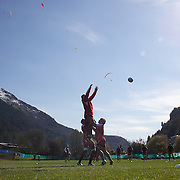 The Georgian team training at Recreation Park, in preparation for the IRB Rugby World Cup as paragliders descending from skyline prepare to land in a nearby field. Queenstown, New Zealand, 7th September 2011. Photo Tim Clayton...