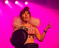 Pictured: Moonwalk Scotland, Edinburgh, Scotland, United Kingdom, 08 June 2019. The The 14th Moonwalk Scotland 'Walk the Walk' night-time event with several thousand participants wearing specially decorated bras wjth a circus theme to raise money  and awareness for breast cancer causes. Founder & Chief Executive, Nina Barough with a bra designed by Jenners.<br /> <br /> Sally Anderson   EdinburghElitemedia.co.uk