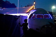 The airplane nose at the entrance to the Lost Vagueness field in Glastonbury festival, 2005.