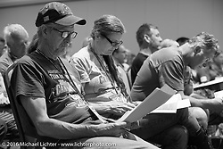 Pat and Cris Simmons in the riders meeting at the Daytona Beach Resort on Thursday before the next morning start of the Motorcycle Cannonball Cross-Country Endurance Run. Daytona Beach, FL, USA. September 4, 2014.  Photography ©2014 Michael Lichter.