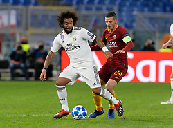 November 27, 2018 - R, Italy - Marcelo and Alessandro Florenzi during the UEFA Champions League match group G between AS Roma and Real Madrid FC at the Olympic stadium on november 27, 2018 in Rome, Italy. (Credit Image: © Silvia Lore/NurPhoto via ZUMA Press)