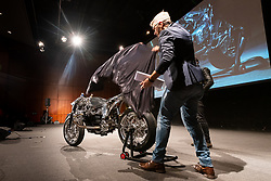 Unveiling the new Andrea Radaelli custom BMW at the stage presentation during the Palazzo della Gran Guardia Motor Bike Expo (MBE) Gala in Verona's Piazza Bra. Italy. Thursday, January 16, 2020. Photography ©2020 Michael Lichter.