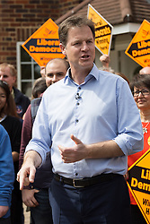 © Licensed to London News Pictures. 04/05/2015. Sutton, UK. Deputy Prime Minister, Nick Clegg meets Liberal Democrat candidate for Sutton and Cheam, Paul Burstow with supporters in Sutton. Photo credit : Vickie Flores/LNP