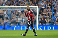 Sheffield United striker Leon Clarke (9) celebrates after scoring a goal 0-2 during the EFL Sky Bet Championship match between Sheffield Wednesday and Sheffield Utd at Hillsborough, Sheffield, England on 24 September 2017. Photo by Adam Rivers.