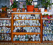 Porcelain teacups on display in Predeal is a mountain resort town in Brasov County, Romania.