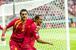 06.09.2013, Pepsi Arena, Warschau, POL, FIFA WM Qualifikation, Polen vs Montenegro, Rueckspiel, im Bild MILOS KRKOTIC montenegro 5 DEJAN DEMJANOVIC montenegro 14 radosc po gol bramka joy // after goal celebrates after scoring goal // during the FIFA World Cup Qualifier second leg Match between Poland and Montenegro at the Pepsi Arena in Warsaw, Poland on 2013/09/06. EXPA Pictures © 2013, PhotoCredit: EXPA/ Newspix/ Sebastian Borowski<br /> <br /> ***** ATTENTION - for AUT, SLO, CRO, SRB, BIH, TUR, SUI and SWE only *****