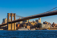 the Brooklyn Bridge from  Manhattan Landmarks in New York City USA
