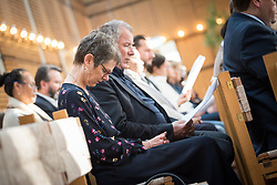 20 September 2017, Geneva, Switzerland: Morning prayers at the Ecumenical Centre in Geneva, as World Council of Churches staff gather for the annual Staff Enrichment Days. Here, Kristine Greenaway and Martin Robra.