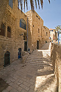 Israel, Jaffa, Narrow renovated alleyways in the artist colony in the old city