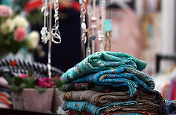 Various goods for sale at a shopping stall at Cheltenham Racecourse