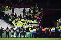 Football - 2021 / 2022 UEFA Europa League - Group H - Round Two - West Ham United vs Rapid Vienna - London Stadium - Thursday 30th September<br /> <br /> Police clear Rapid Vienna fans at the end of the game .<br /> <br /> COLORSPORT/Ashley Western