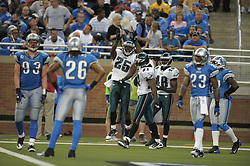 DETROIT - SEPTEMBER 19: Running back LeSean McCoy #25 and wide receiver Jason Avant #81 of the Philadelphia Eagles celebrate McCoy's third touchdown of the day during the game against the Detroit Lions on September 19, 2010 at Ford Field in Detroit, Michigan. The Eagles won 35-32. (Photo by Drew Hallowell/Getty Images)  *** Local Caption *** LeSean McCoy;Jason Avant