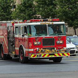 Harrisburg, PA, USA- July 7, 2012: A Harrisburg Fire Engine Responds to an emergency call.