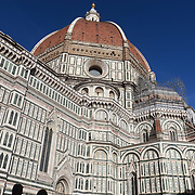 FLORENCE, ITALY - OCTOBER 31:  The exterior of Florence's Cathedral, Basilica di Santa Maria del Fiore, known as Duomo in Florence, Italy. The Duomo is the main church of the city of Florence. Construction was started in 1296 in the Gothic style with the structure completed in 1436. The famous dome was designed by Arnolfo di Cambio and engineered by Filippo Brunelleschi. Florence, Italy, 31st October 2017. Photo by Tim Clayton/Corbis via Getty Images)