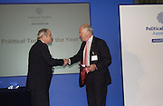 SIMON HOGGGART AND MICHAEL COCKERELL Association awards, 2005. Institute of Directors. Pall Mall. London. 29 November 2005. ONE TIME USE ONLY - DO NOT ARCHIVE  © Copyright Photograph by Dafydd Jones 66 Stockwell Park Rd. London SW9 0DA Tel 020 7733 0108 www.dafjones.com