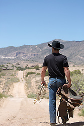 back of a cowboy outdoors on a ranch
