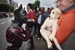 August 12, 2017 - Antwerp, Belgium - A man in a leather dog costume greets a puppy and its owner at the Antwerp pride march. (Credit Image: © Frederik Sadones/Pacific Press via ZUMA Wire)