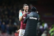 Andy Carroll of West Ham United laughing with a member of backroom staff after full time. The Emirates FA cup, 3rd round match, West Ham Utd v Wolverhampton Wanderers at the Boleyn Ground, Upton Park  in London on Saturday 9th January 2016.<br /> pic by John Patrick Fletcher, Andrew Orchard sports photography.