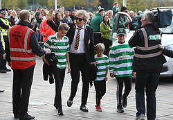 Celtic fan Rod Stewart with children Alastair and Aiden as they arrive at the Ladbrokes Scottish Premiership match at Celtic Park, Glasgow.