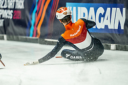 Itzhak de Laat of Netherlands in action on 500 meter during ISU World Short Track speed skating Championships on March 06, 2021 in Dordrecht