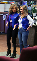 "Jennifer Lopez and BFF Leah Remini filming scenes for upcoming movie ""SECOND ACT"" where they play supermarket workers in Astoria, Queens. 24 Oct 2017 Pictured: Jennifer Lopez and Leah Remini. Photo credit: LRNYC / MEGA TheMegaAgency.com +1 888 505 6342"