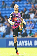 Bristol City goalkeeper Daniel Bentley (1) in action during the EFL Sky Bet Championship match between Cardiff City and Bristol City at the Cardiff City Stadium, Cardiff, Wales on 28 August 2021.