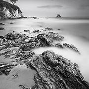 Shoreline And Arch Rock (Six Minute Exposure) - Corona Del Mar - Sunset - Black & White