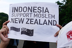 March 22, 2019 - Jakarta, Indonesia - Indonesian Muslims rally to support a New Zealand Christchurch mosques shooting victims in Jakarta, Indonesia on March 22, 2019. (Credit Image: © Anton Raharjo/NurPhoto via ZUMA Press)