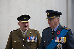 Prince Richard, Duke of Gloucester (right) at the Armistice Day service at the War Memorial Arboretum, in Staffordshire.