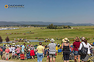 Cross Country Horse Jumping at the Event at Rebecca Farm in Kalispell, Montana, USA