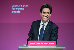 © Licensed to London News Pictures . 27/02/2015 . Leeds , UK . ED MILIBAND speaks at the launch of the Labour Party's fourth election pledge at a speech on young people . British Labour Party leader Ed Miliband and Shadow Chancellor Ed Balls at Leeds College of Music today ( Friday 27th February 2015 ) . Photo credit : Joel Goodman/LNP