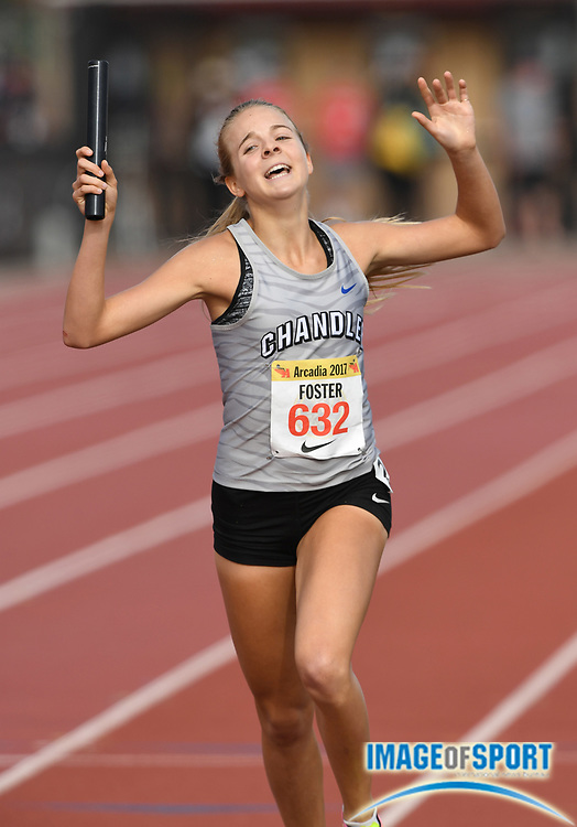 Apr 7, 2017; Arcadia, CA, USA; Morgan Foster (632) celebrates after running the anchor leg on the Chandler girls 4 x 800m relay that won the invitational race in 9:07.38 during the 50th Arcadia Invitational at Arcadia High.
