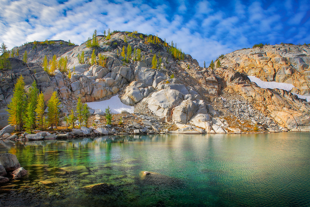 Inspiration Lake in the Enchantment Lakes area of the Alpine Lakes Wilderness, Washington