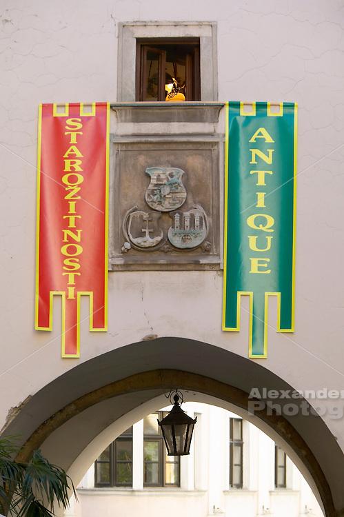 Europe, Slovakia, capitol city - Bratislava, Michael tower banners