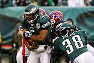 PHILADELPHIA - DECEMBER 30: Quarterback Donovan McNabb #5 of the Philadelphia Eagles is sacked during the game against the Buffalo Bills on December 30, 2007 at Lincoln Financial Field in Philadelphia, Pennsylvania. The Eagles won 17-9.
