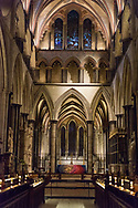 A view along the aisle in Salisbury Cathedral