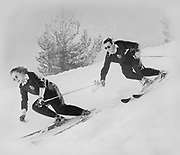 """Ackroyd 00014-69. """"Hirsch-Weis White Stag. Karl Molitor & Rosemarie Bleuer skiing at Timberline. Copy neg for ski-tog ad."""" No date, mid 1940s."""