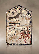 """Ancient Egyptian stele didicated to the swallow and cat by Nebra, limestone, New Kingdom, 19th Dynasty, (1292-1190 BC), Deir el-Medina, Egyptian Museum, Turin. . Drovetti Cat No 1591.<br /> <br /> In the top register of this votive stele a swallow  (Hirundinidae) is shown perched on top of a shrine. An offering table is placed in front of it on the right side. The bird is called """"the good swallow"""". In the lower register Nakhamun and Khay, Nebre's two sons, kneel in adoration in front of a large cat. They both hold a bouquet in their right hand, the left hand is raised in adoration before the good cat"""" (Houlihan,1996,87). The swallow and the cat both represent two minor deities, Menet and Tamit, who are  closely connected with the region of the Theban necropolis. It is unusual that this stele has been dedicated by Nebre, the royal craftsman, without him being depicted. .<br /> <br /> If you prefer to buy from our ALAMY PHOTO LIBRARY  Collection visit : https://www.alamy.com/portfolio/paul-williams-funkystock/ancient-egyptian-art-artefacts.html  . Type -   Turin   - into the LOWER SEARCH WITHIN GALLERY box. Refine search by adding background colour, subject etc<br /> <br /> Visit our ANCIENT WORLD PHOTO COLLECTIONS for more photos to download or buy as wall art prints https://funkystock.photoshelter.com/gallery-collection/Ancient-World-Art-Antiquities-Historic-Sites-Pictures-Images-of/C00006u26yqSkDOM"""