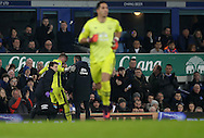 Maarten Stekelenburg of Everton goes off injured and is replaced by Joel Robles of Everton during the English Premier League match at Goodison Park, Liverpool. Picture date: December 19th, 2016. Photo credit should read: Lynne Cameron/Sportimage