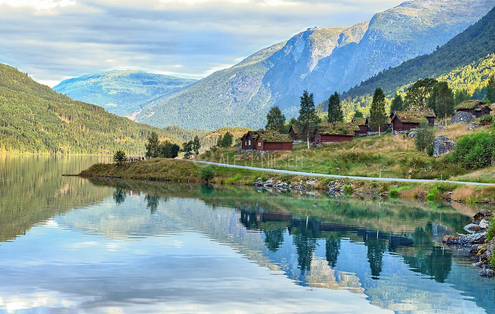 Scenery from Lovatnet (Loen Lake), Stryn, Vestland, Norway in July.