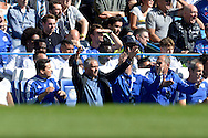 José Mourinho, the Chelsea Manager reacts with his arms up from  the dugout. Barclays Premier League match, Chelsea v Arsenal at Stamford Bridge in London on Saturday 19th September 2015.<br /> pic by John Patrick Fletcher, Andrew Orchard sports photography.