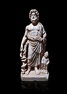 Roman statue of Asklepios. Marble. Perge. 2nd century AD. Inv no . Antalya Archaeology Museum; Turkey. Against a black background.<br /> <br /> Asclepius was a hero and god of medicine in ancient Greek religion and mythology. .<br /> <br /> If you prefer to buy from our ALAMY STOCK LIBRARY page at https://www.alamy.com/portfolio/paul-williams-funkystock/greco-roman-sculptures.html . Type -    Antalya     - into LOWER SEARCH WITHIN GALLERY box - Refine search by adding a subject, place, background colour, museum etc.<br /> <br /> Visit our ROMAN WORLD PHOTO COLLECTIONS for more photos to download or buy as wall art prints https://funkystock.photoshelter.com/gallery-collection/The-Romans-Art-Artefacts-Antiquities-Historic-Sites-Pictures-Images/C0000r2uLJJo9_s0