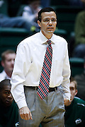 SHOT 2/23/10 9:05:16 PM - Colorado State head basketball coach Tim Miles on the sideline against New Mexico during the first half of their regular season Mountain West Conference game at Moby Arena in Fort Collins, Co. New Mexico survived a tight game winning 72-66. (Photo by Marc Piscotty / © 2010)