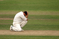 England's Darren Gough shows his disappointment after his lbw appeal against South Africa's Hansie Cronje was turned down